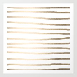 Simply Drawn Stripes in White Gold Sands Art Print