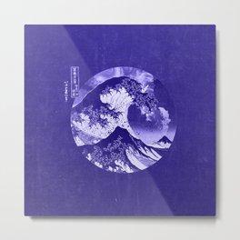 Great Wave Off Kanagawa Blue Monochrome Metal Print