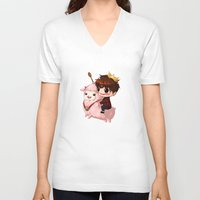 pasta V-neck T-shirts featuring Shining Visual Ulzzang Male God of the Pasta Galaxy by kittyinabarrel