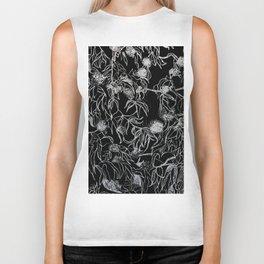 Graphic art, trees leaves, white ink Biker Tank