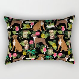 Boxer tiki tropical dog pattern modern pet friendly pet pattern dog breeds Rectangular Pillow
