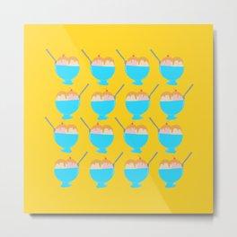 Ice Cream Sundae Print Yellow Metal Print