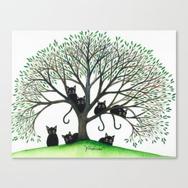 Borders Whimsical Cats in Tree Canvas Print