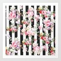 Bold pink watercolor roses floral black white stripes by pink_water
