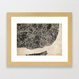 lisbon map ink lines Framed Art Print