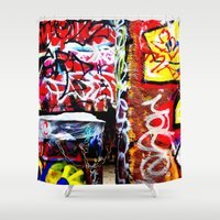 grafitti Shower Curtains featuring Grafitti by Emily Dolenz Photography