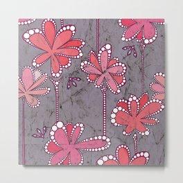 Batik Flower and bees Mauve Metal Print