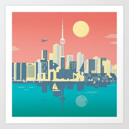 Toronto City Skyline Art Illustration - Cindy Rose Studio Art Print