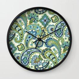 Blue and Green Paisley Wall Clock