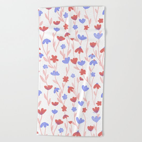 Red Blue Floral Pattern Beach Towel