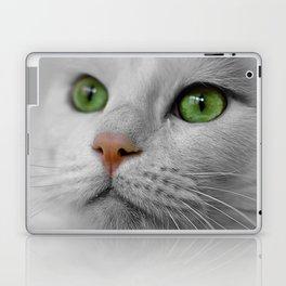 White Cat wit Green Eyes Laptop & iPad Skin