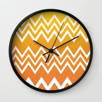 tequila Wall Clocks featuring Tequila Sunrise by Color and Form