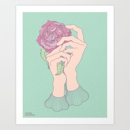 Gentle hands and rose Art Print