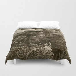 Abandoned Old Farmall Tractor in Sepia Tone Duvet Cover