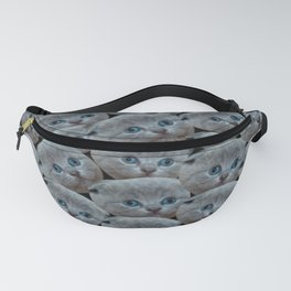 cute collage pattern shorthair grey cat Fanny Pack