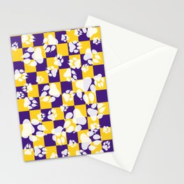 Tiger Claws on Purple and Gold Checker Pattern Digital Design Stationery Cards