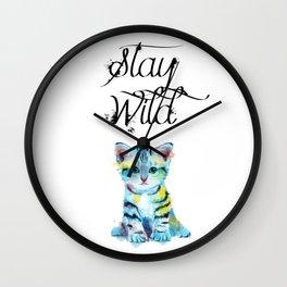 Stay Wild - kitten illustration Wall Clock