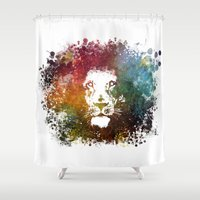 lion king Shower Curtains featuring Lion King by jbjart