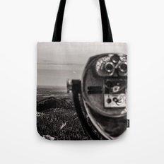 Scenic Mountains - Black and White Tourist Binoculars at Pikes Peak Denver Colorado Tote Bag