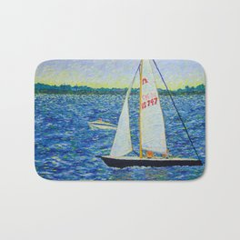 Boats on Boston Harbor Bath Mat