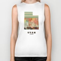 utah Biker Tanks featuring Utah state map modern by bri.buckley