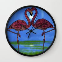 flamingos Wall Clocks featuring Flamingos by Ben Geiger