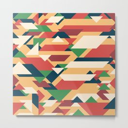 Abstract geometric background. Retro overlapping rectangles and triangles. Metal Print