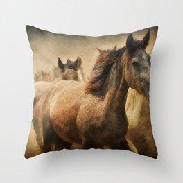 Horses Running Digital Art Throw Pillow