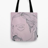 true detective Tote Bags featuring RUST COHLE / TRUE DETECTIVE by ANNI JW