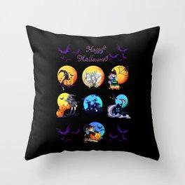 Halloween Scene Bat Black Cat Witch Castle Pumpkin Lantern Throw Pillow