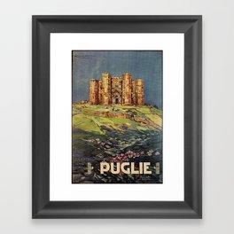 Apulia Castle del Monte vintage Italian travel ad Framed Art Print