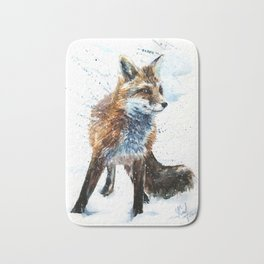 Fox watercolor Bath Mat