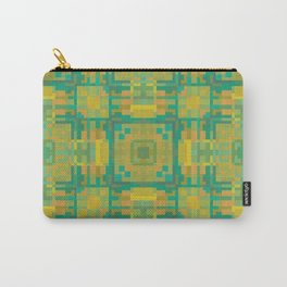 PHARAOH teal green, peach square design pattern Carry-All Pouch