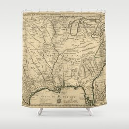 Map of America from Rio Grande River to Hudson River (1718) Shower Curtain