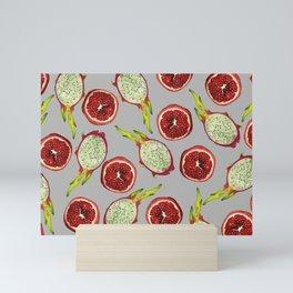 Pomegranate - Dragon Fruit Pattern grey Mini Art Print