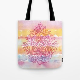 Watercolor & Indian Woodblock Design Tote Bag