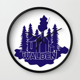 Walden - Henry David Thoreau (Blue version) Wall Clock