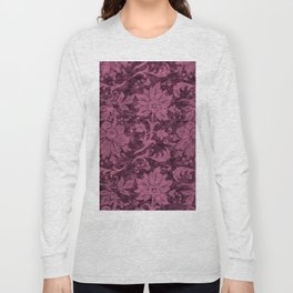 Burgundy Turquoise Velvet Floral Pattern 03 Long Sleeve T-shirt