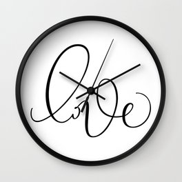 """Love"" Hand Lettering Art Wall Clock"