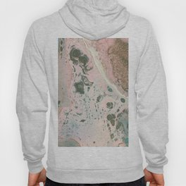 Fluid Art Acrylic Painting, Pour 19, Light Pink, Gray Blue & White Blended Color Hoody