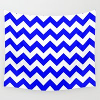 chevron Wall Tapestries featuring Chevron (Blue/White) by 10813 Apparel