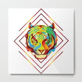 Fire Tiger Metal Print