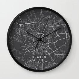 Krakow Map, Poland - Gray Wall Clock
