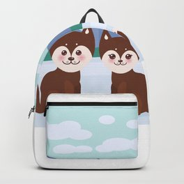 Kawaii funny brown husky dog, face with large eyes and pink cheeks, boy and girl, mountain landscape Backpack