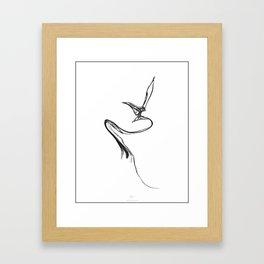 Swallow 1. Black on white background. Framed Art Print