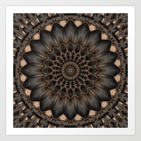 Mandala grey Flower Art Print