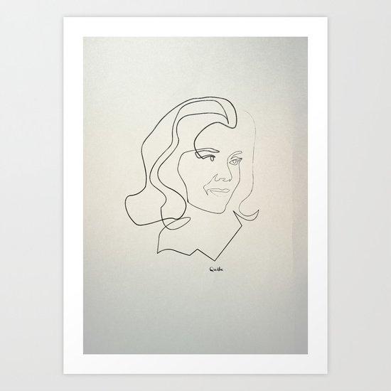 One line Avengers: Emma Peel Art Print
