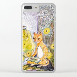 cat reading with fireflies in forest Clear iPhone Case