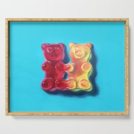 Let's Stick Together - Gummy Bears - Joined at the hip - conjoined twins Serving Tray