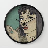 mia wallace Wall Clocks featuring Mia (Mia Wallace Pulp Ficion) by Becky Ryan